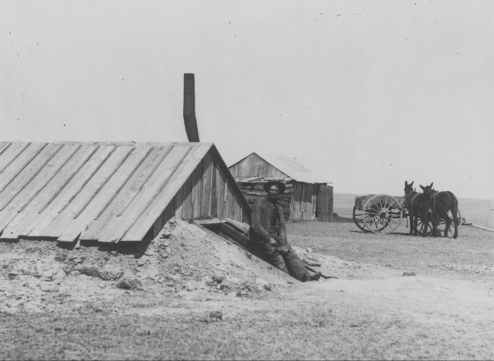 Dugout home in Greeley County, Kansas