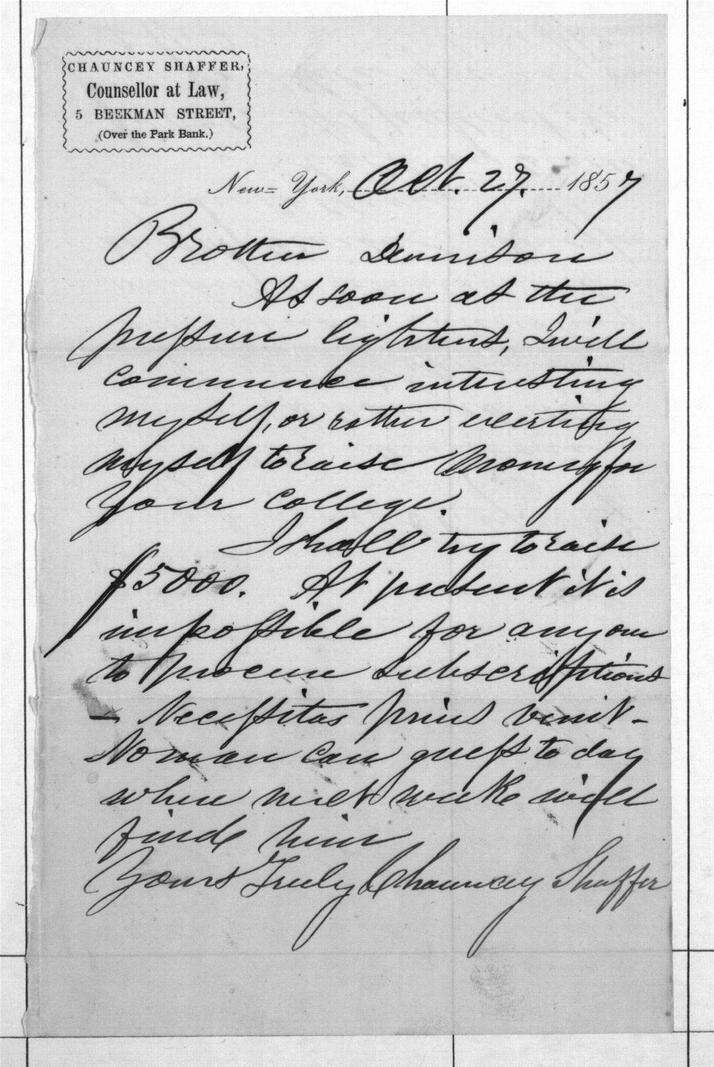 Chauncey Shaffer to Joseph Denison, 1857