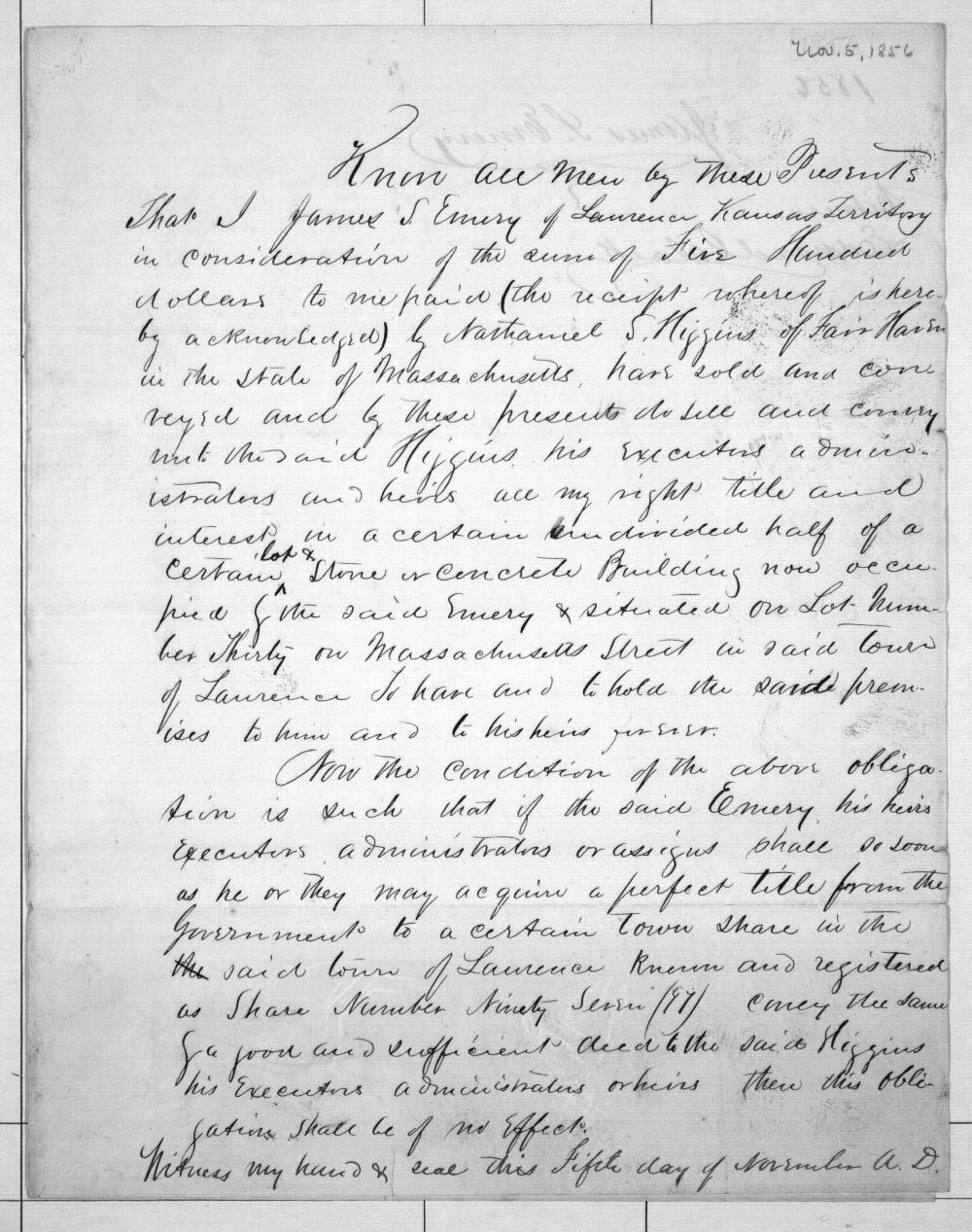 Deed to Nathaniel S. Higgins - 1