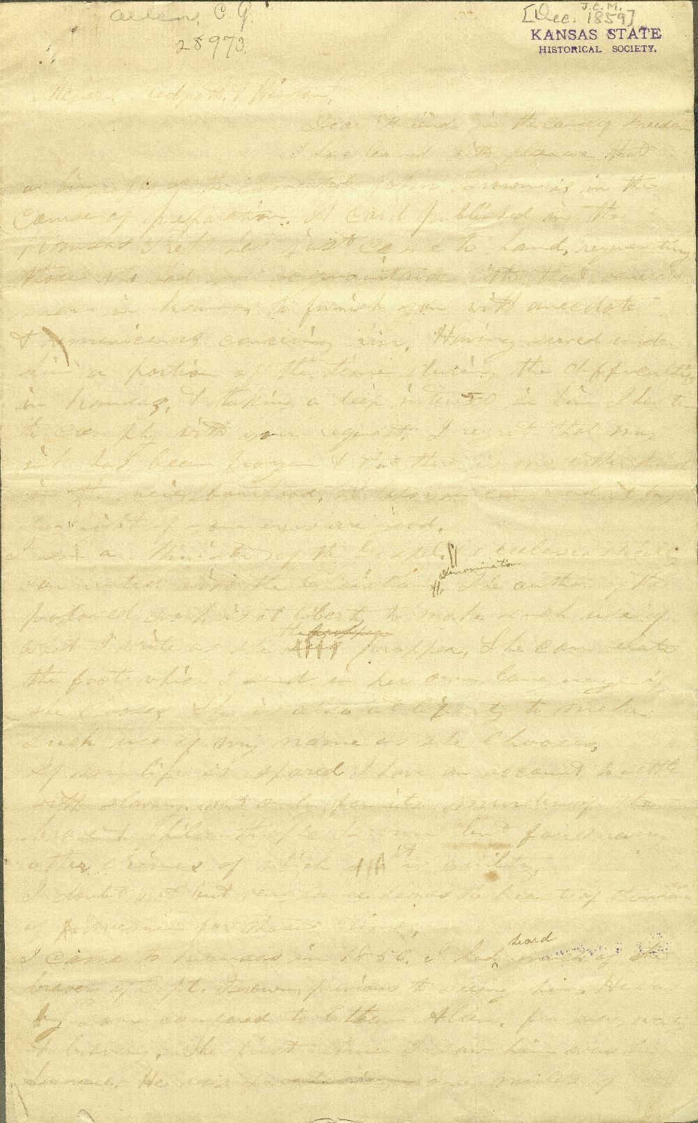 C. G. Allen's response to Redpath and Hinton's call for information about John Brown - 1