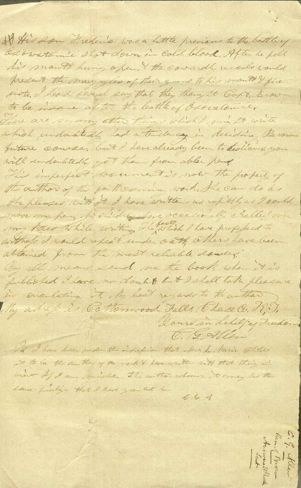 C. G. Allen's response to Redpath and Hinton's call for information about John Brown - 14