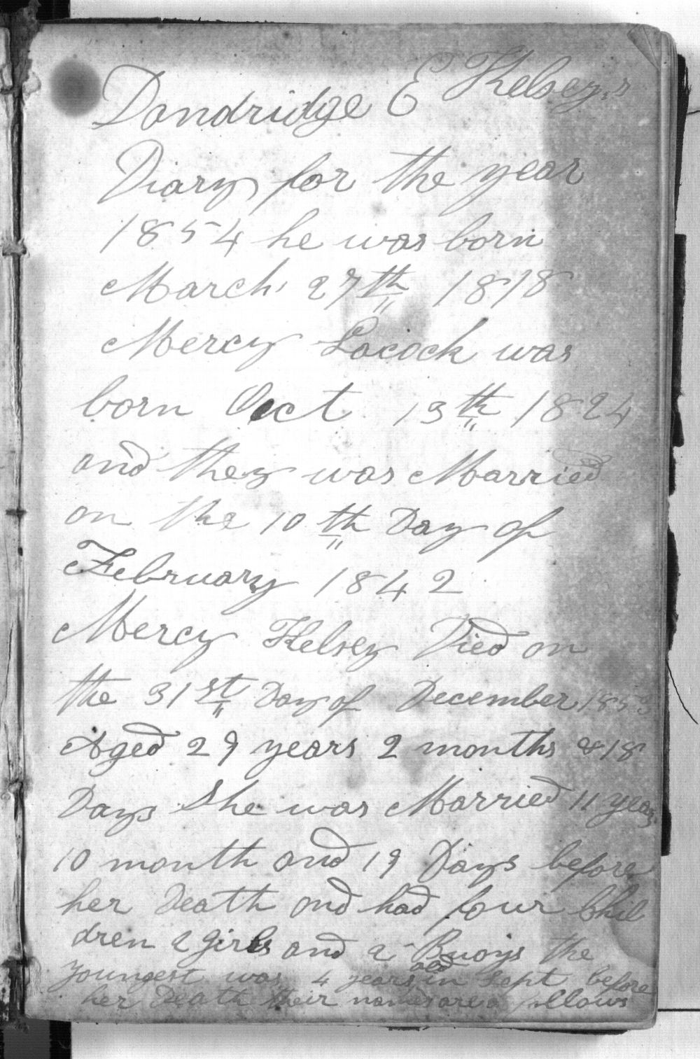 Dandridge E. Kelsey's 1854 diary - i