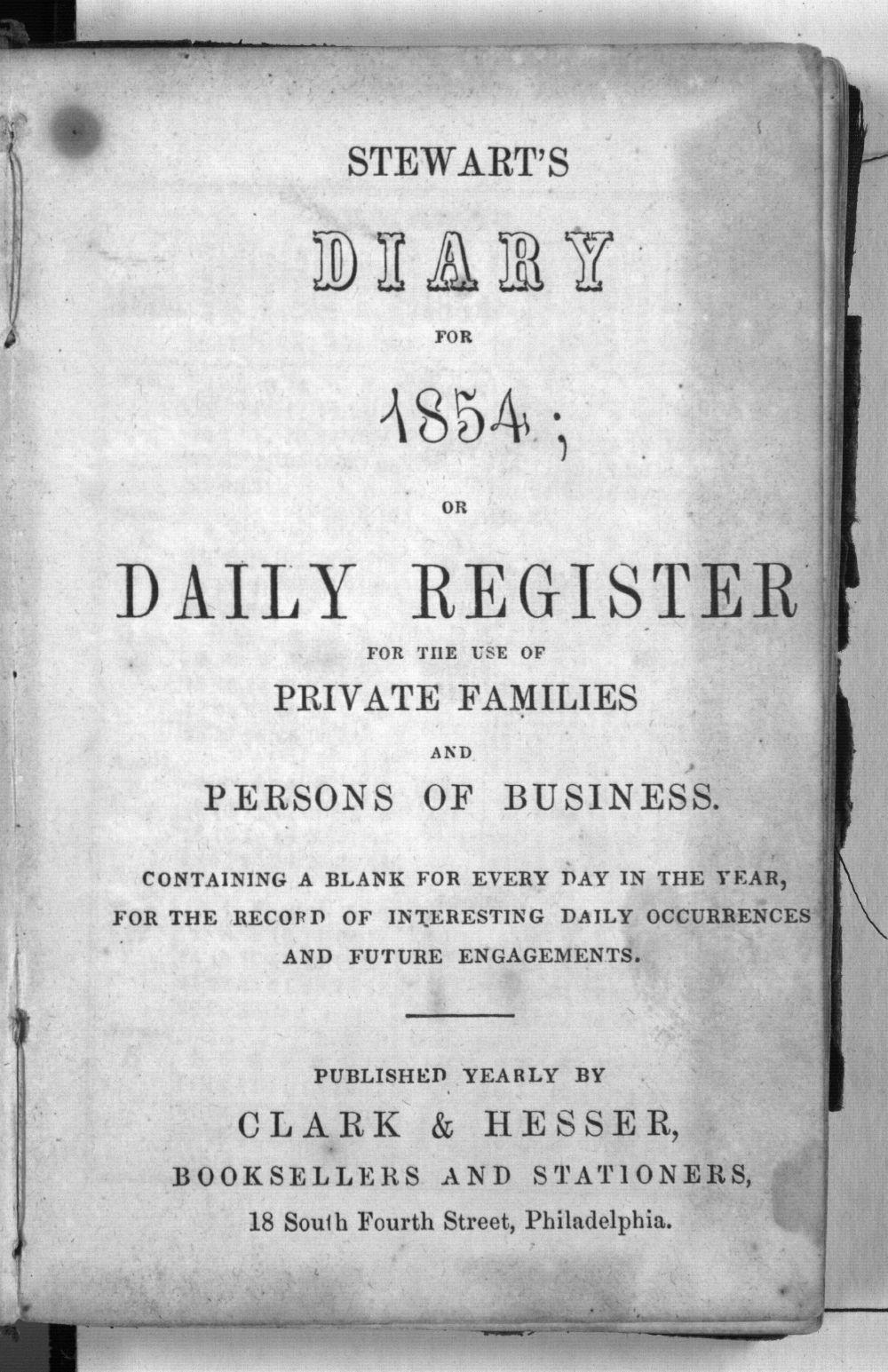 Dandridge E. Kelsey's 1854 diary - Title Page