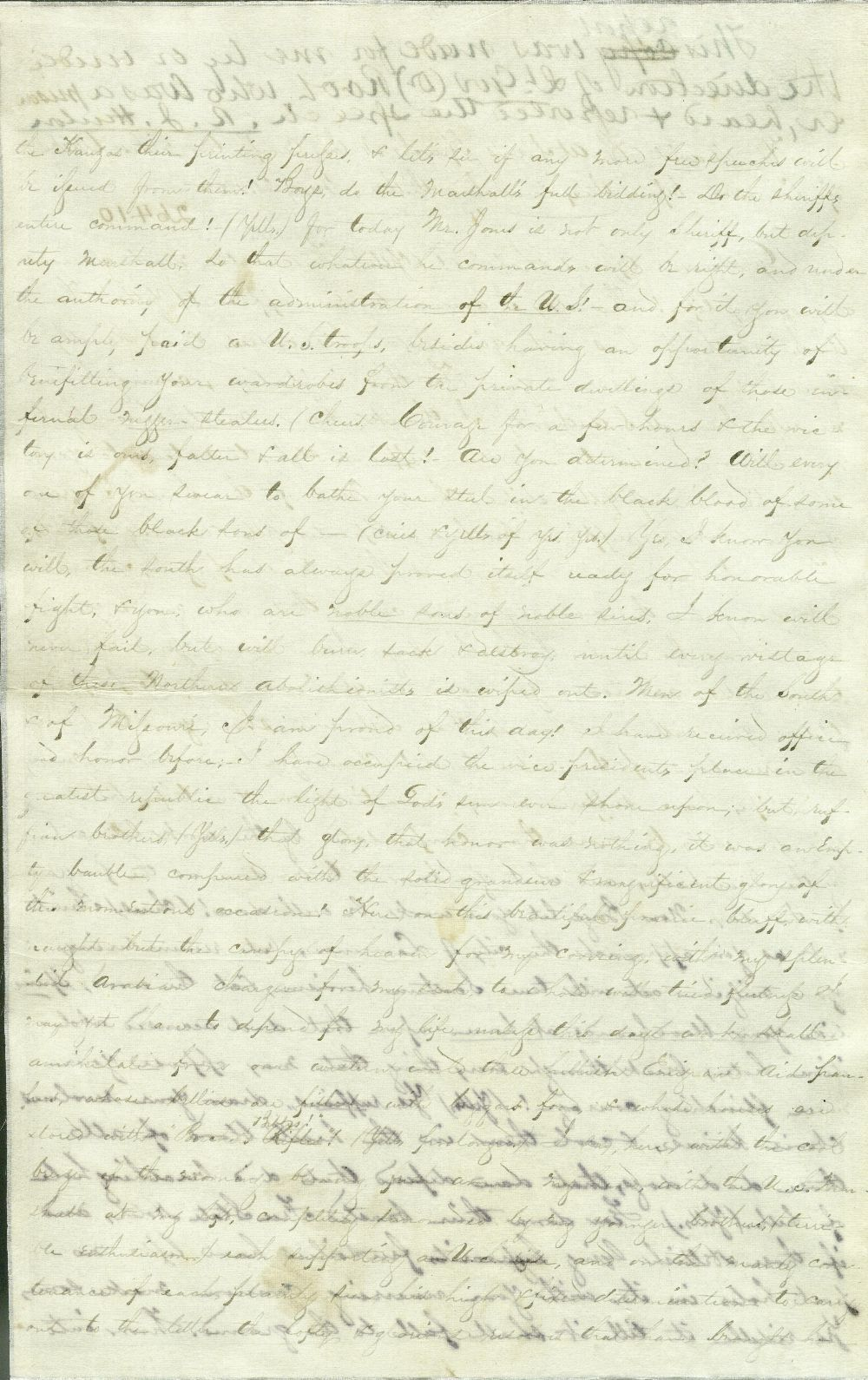 Copy of David R. Atchison speech to pro-slavery forces - 1