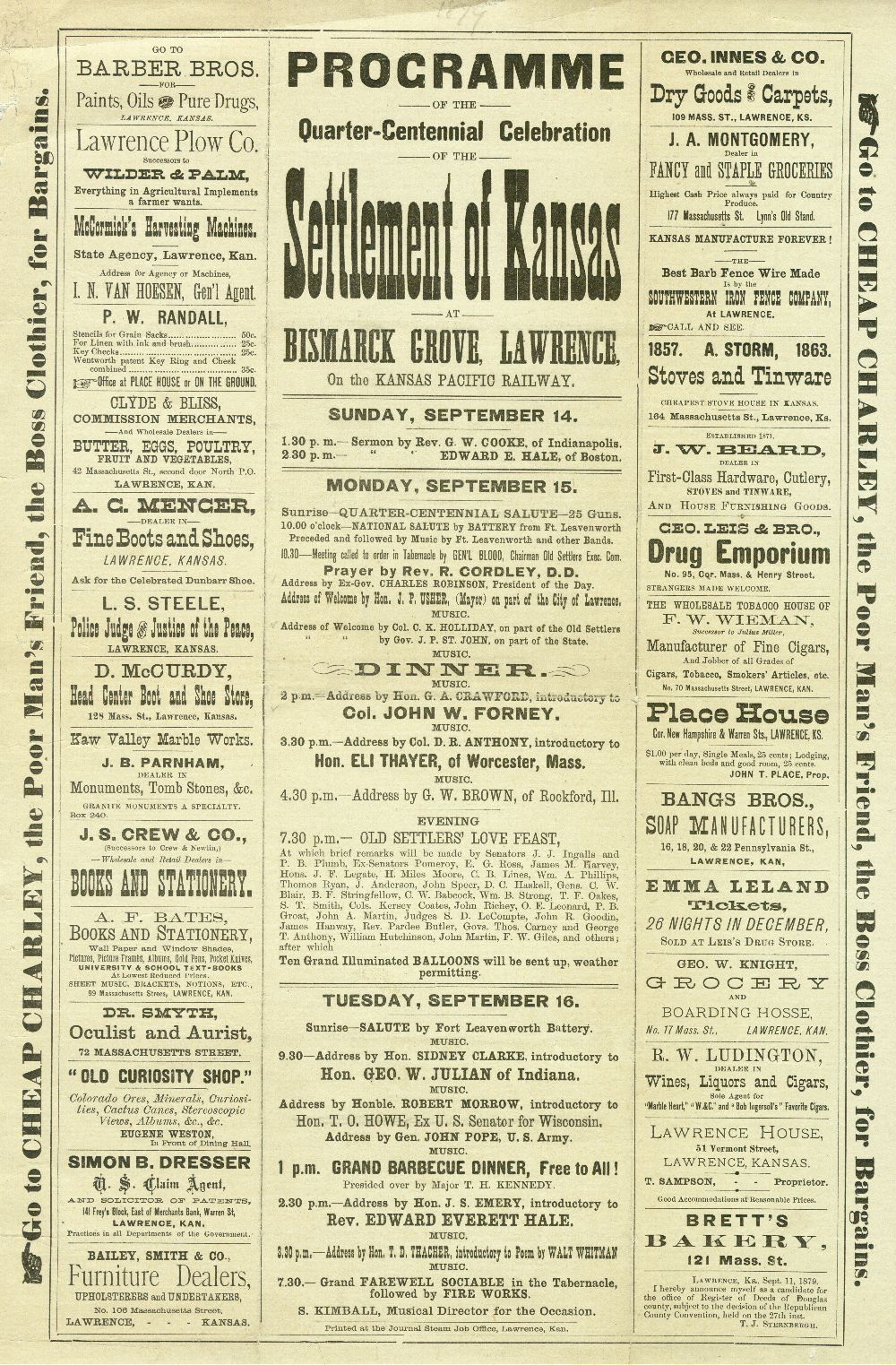 Programme of the Quarter-Centennial Celebration of the Settlement of Kansas at Bismarck Grove, Lawrence, on the Kansas Pacific Railway