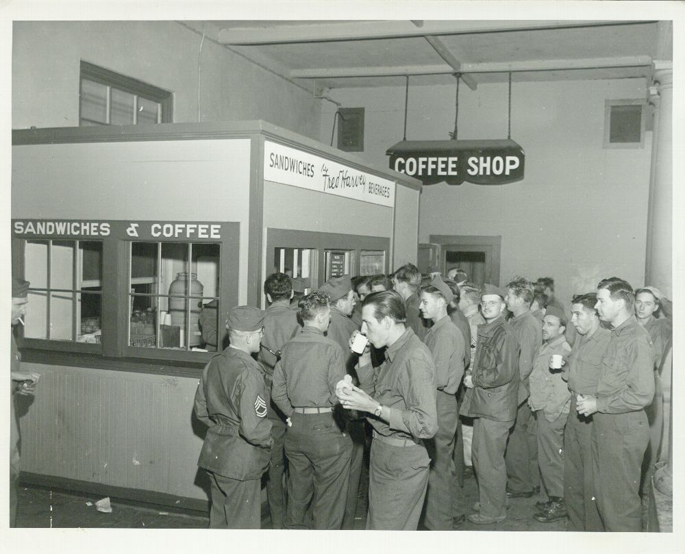 Troops having a coffee break, Needles, California