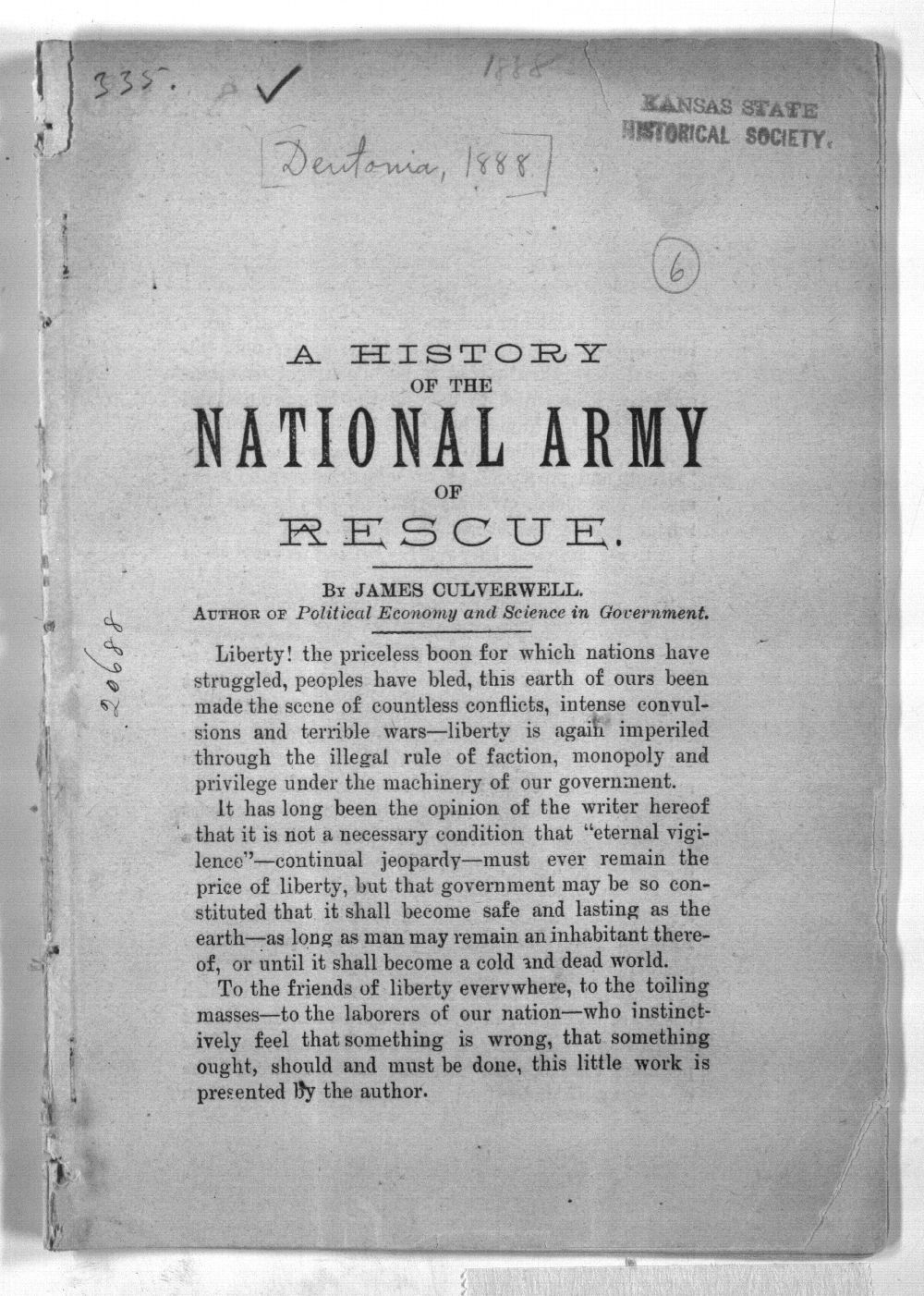 A history of the National Army of Rescue - 1