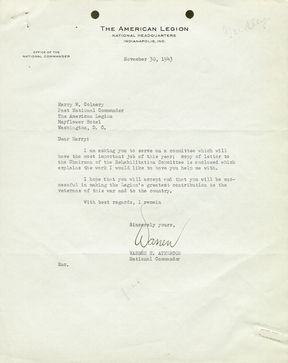 Warren H. Atherton to Harry W. Colmery