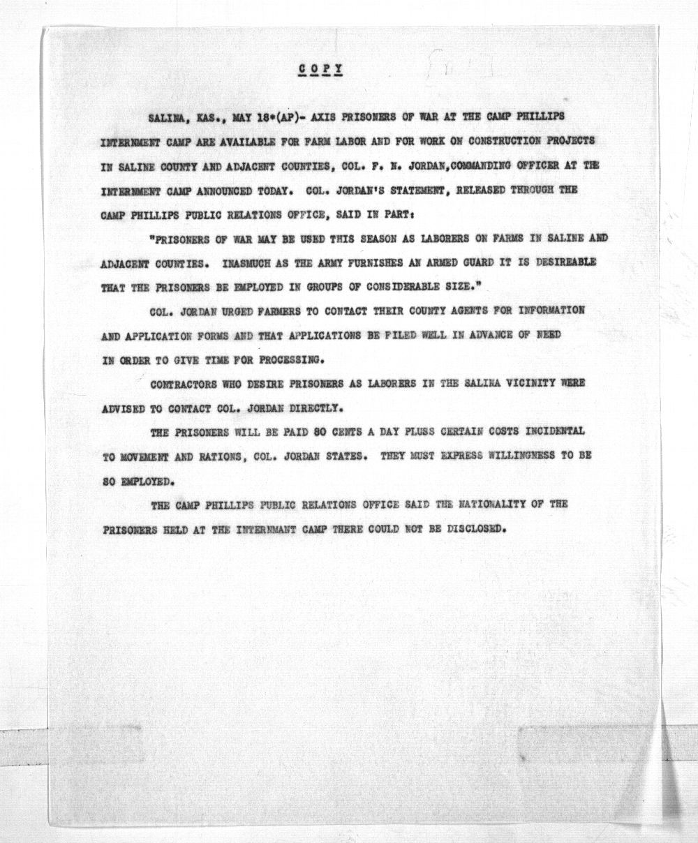 Governor Andrew F. Schoeppel public notice