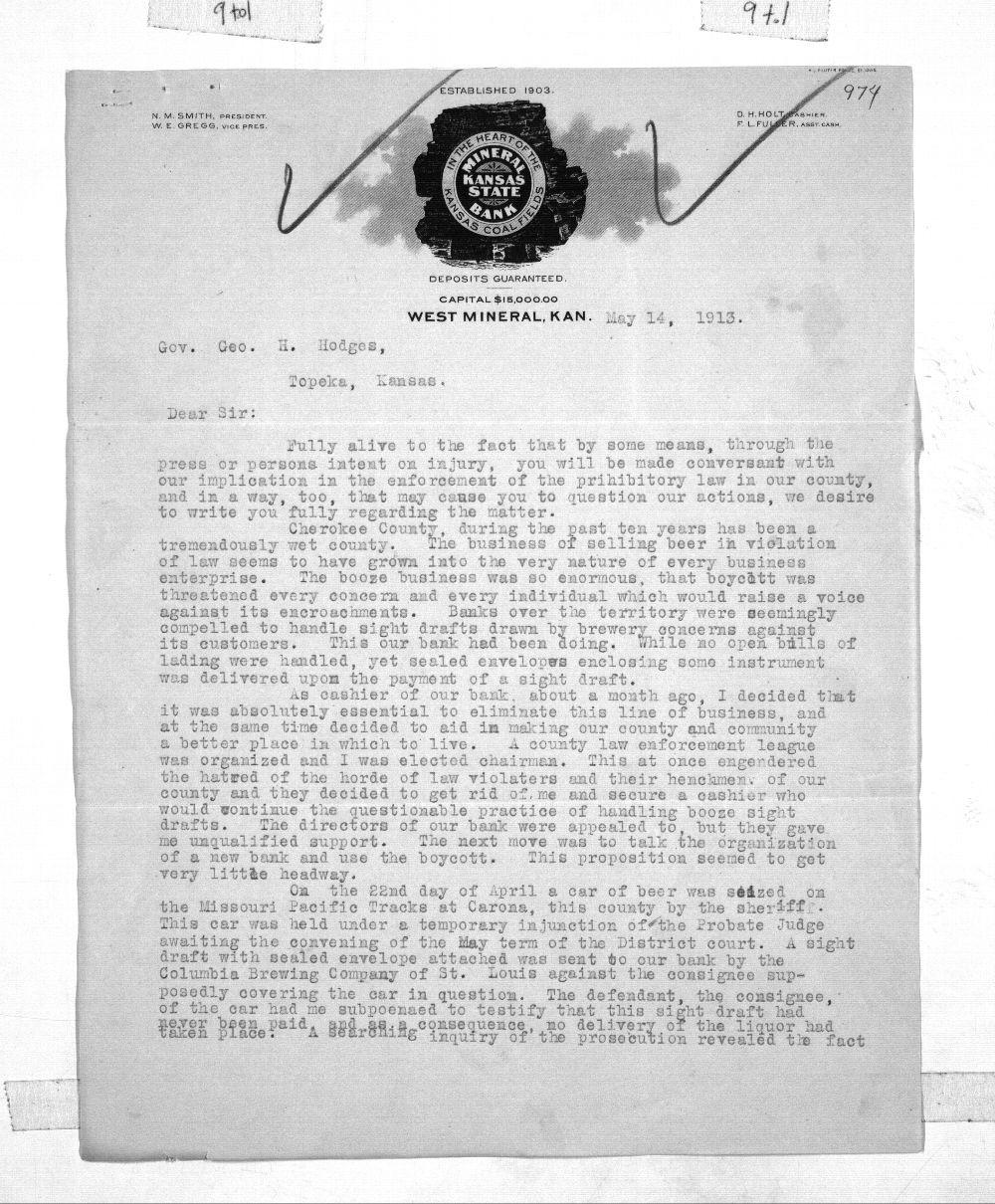 D. H. Holt to Governor George Hartshorn Hodges - 1