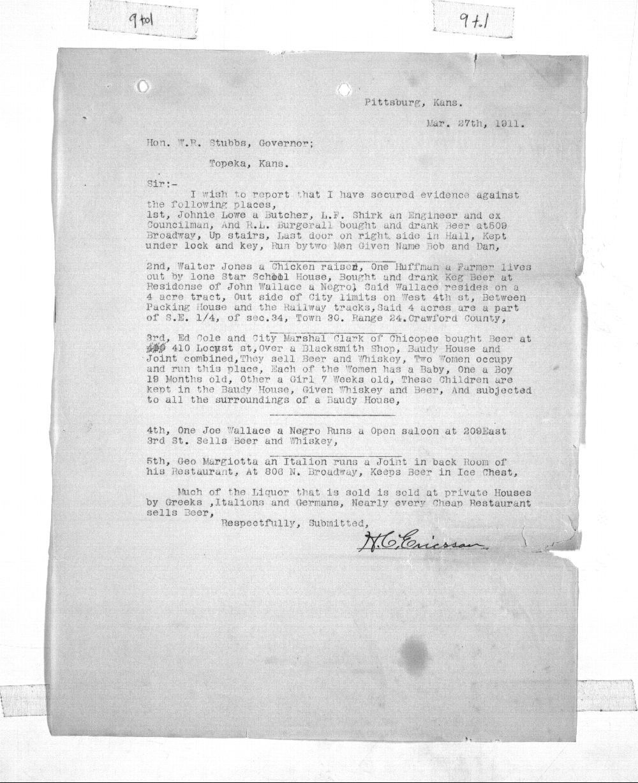 H. C. Ericsson to Governor Walter Stubbs