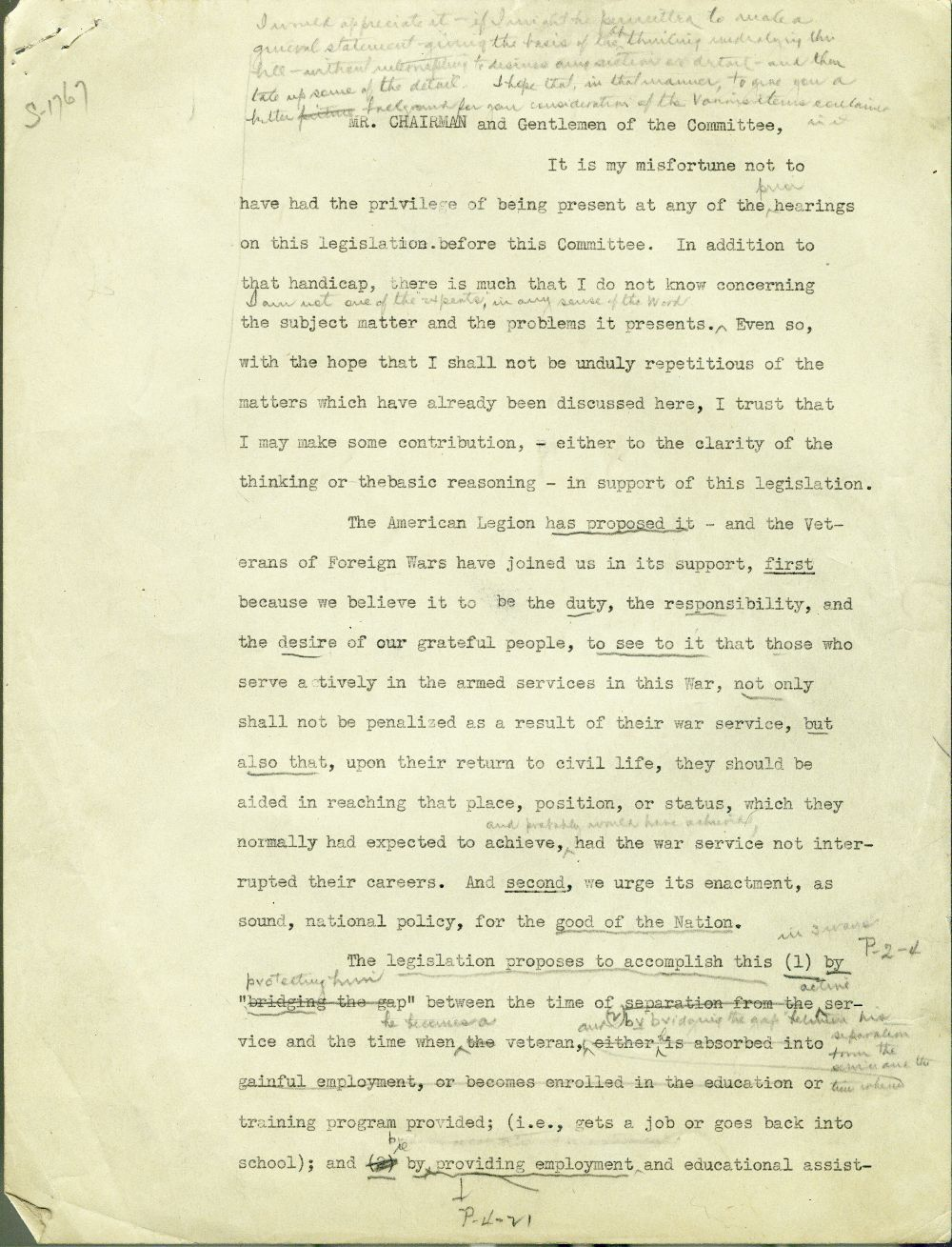 Testimony concerning the G. I. Bill of Rights presented by Harry W. Colmery - 1