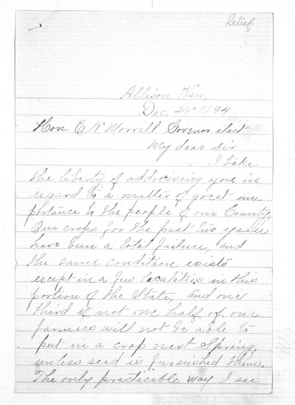 C. C. Evans to Governor Edmund Morrill - 1