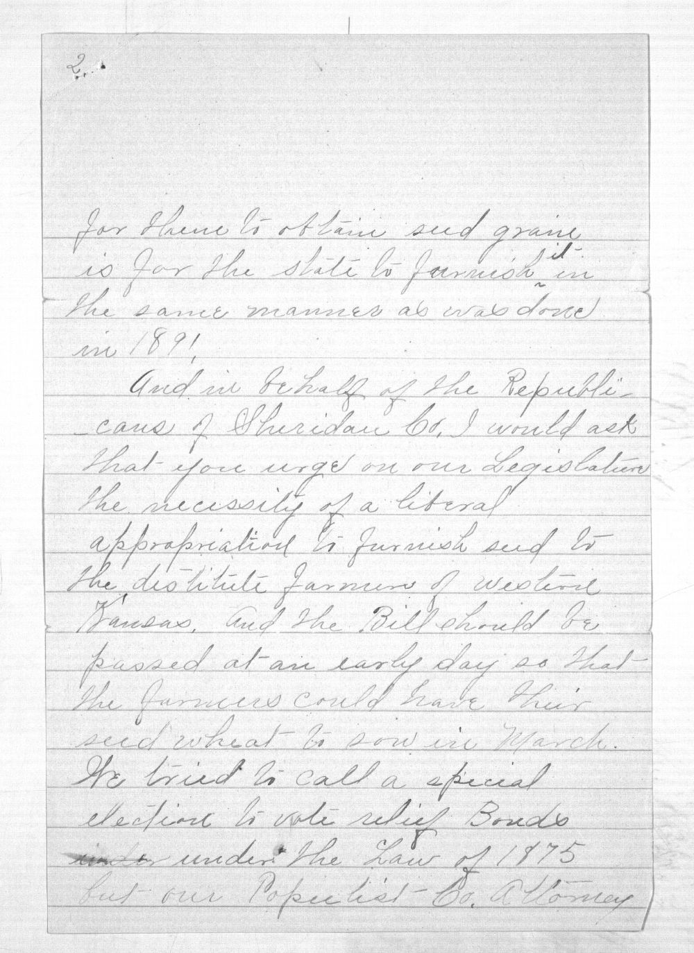 C. C. Evans to Governor Edmund Morrill - 2