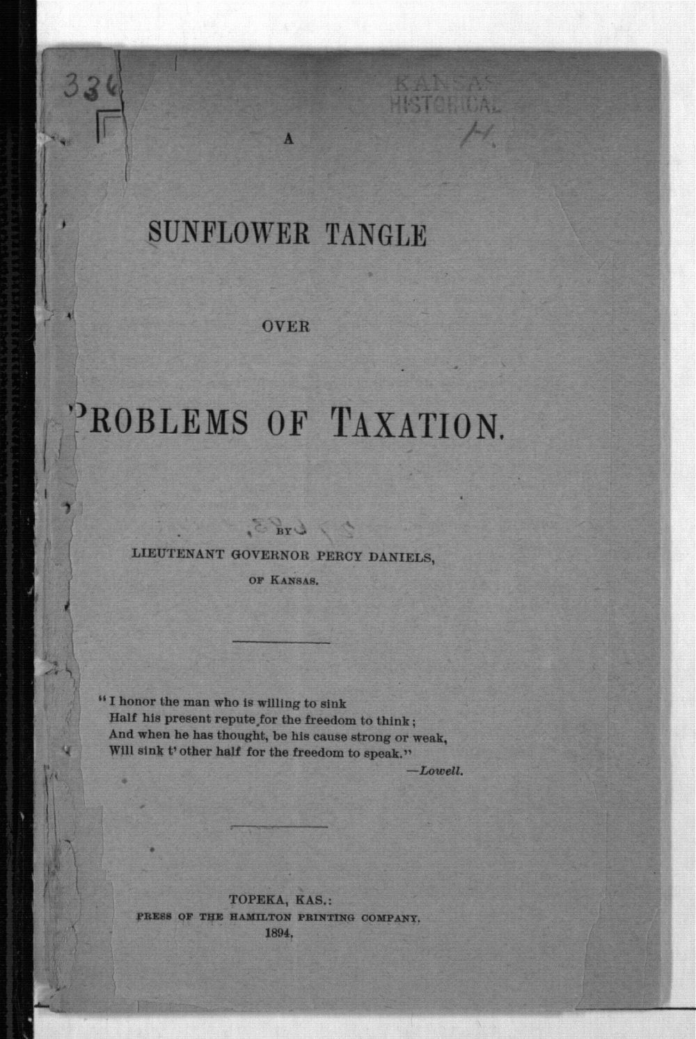Problems of taxation. A sunflower tangle - Title page