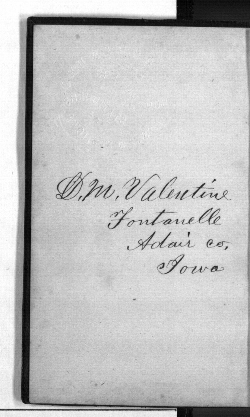 Daniel Mulford Valentine's diary - Signature