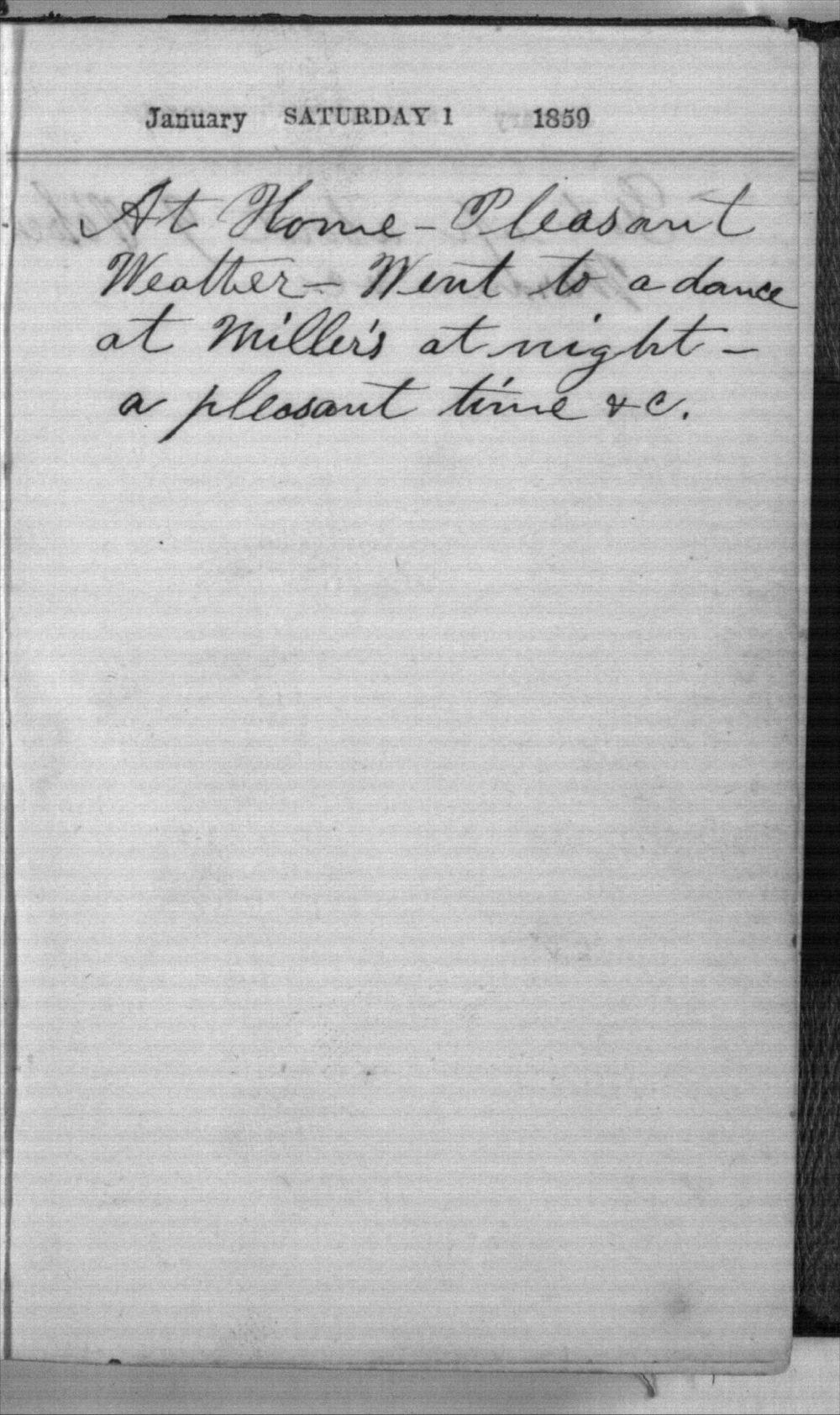 Daniel Mulford Valentine's diary - Jan 1