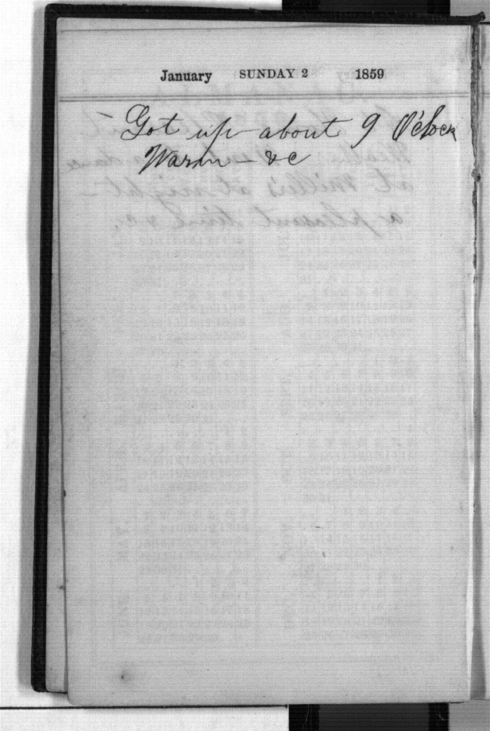 Daniel Mulford Valentine's diary - Jan 2
