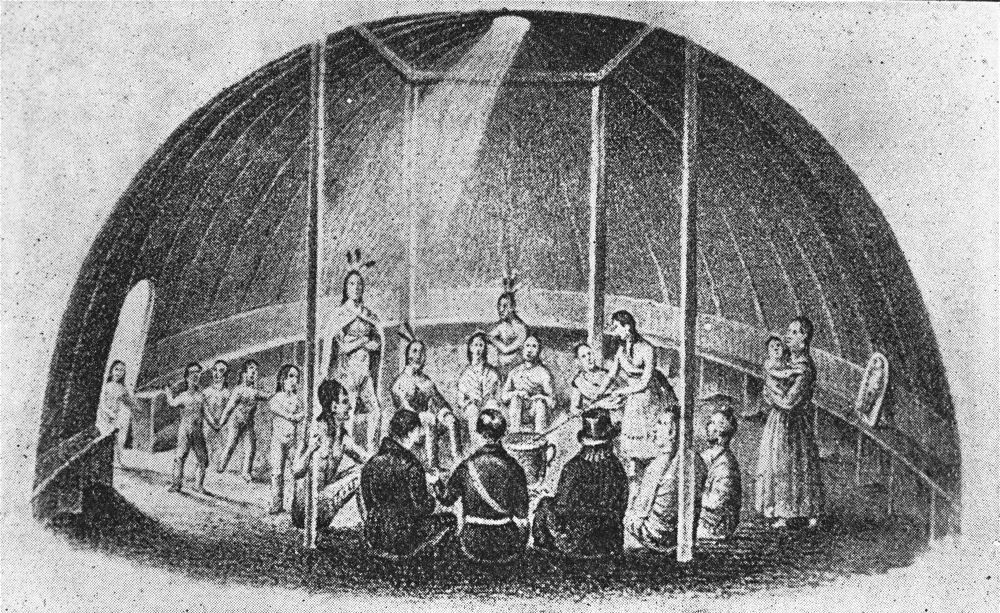 Interior of a Kanza lodge, 1841, near Menokin, Shawnee County