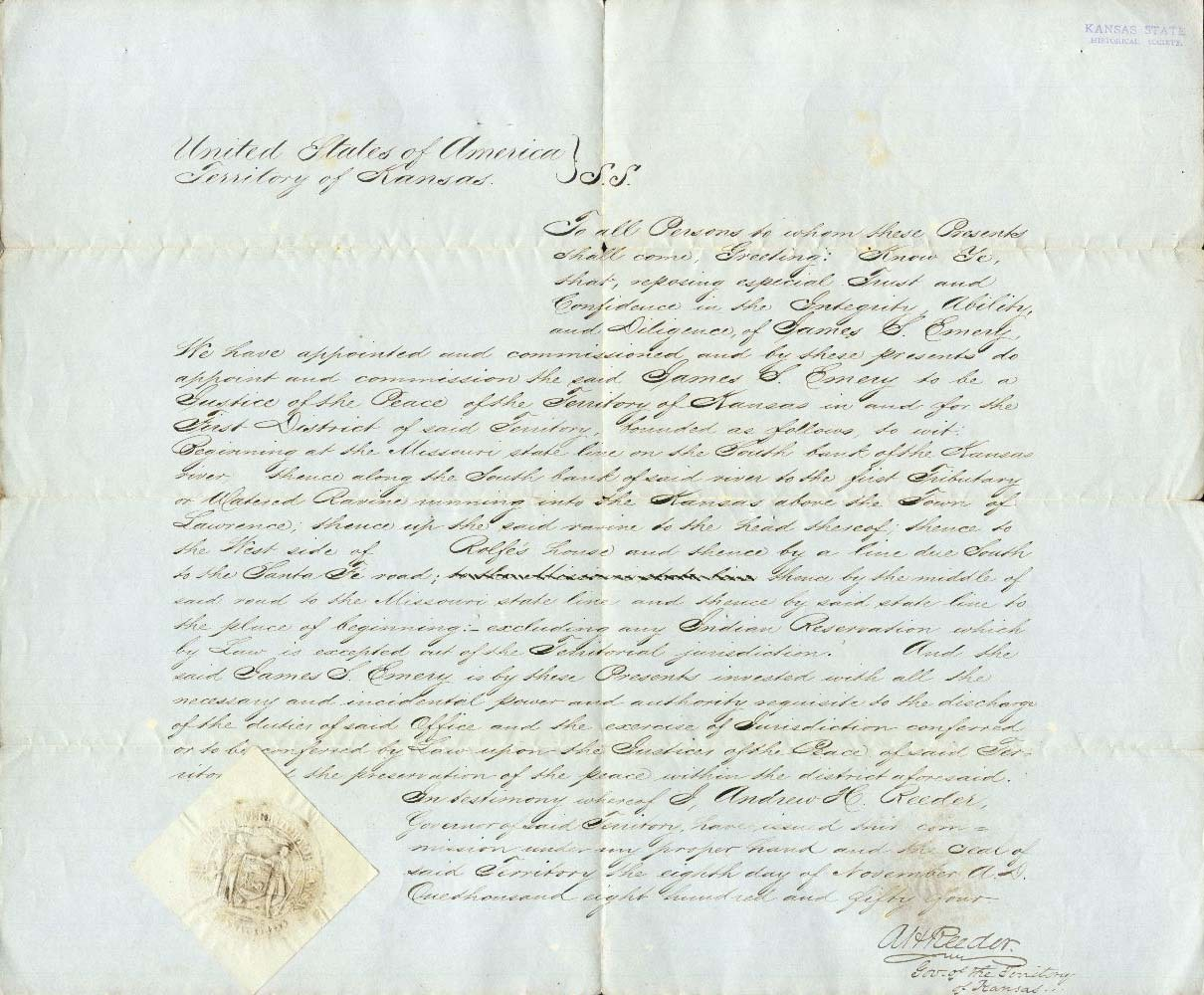 Certificate appointing James S. Emery as a Justice of the Peace for the First District, Kansas Territory