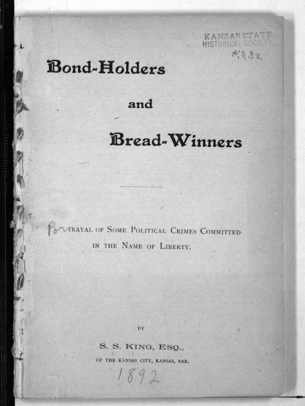 Bond-holders and bread-winners: portrayal of some political crimes committed in the name of liberty - Title Page