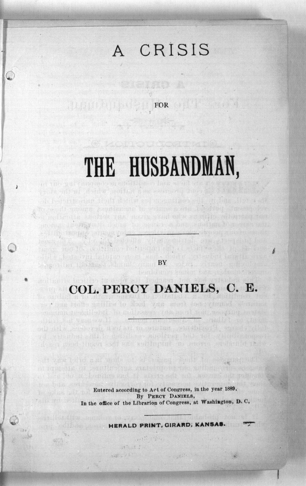 A Crisis for the Husbandman - 1