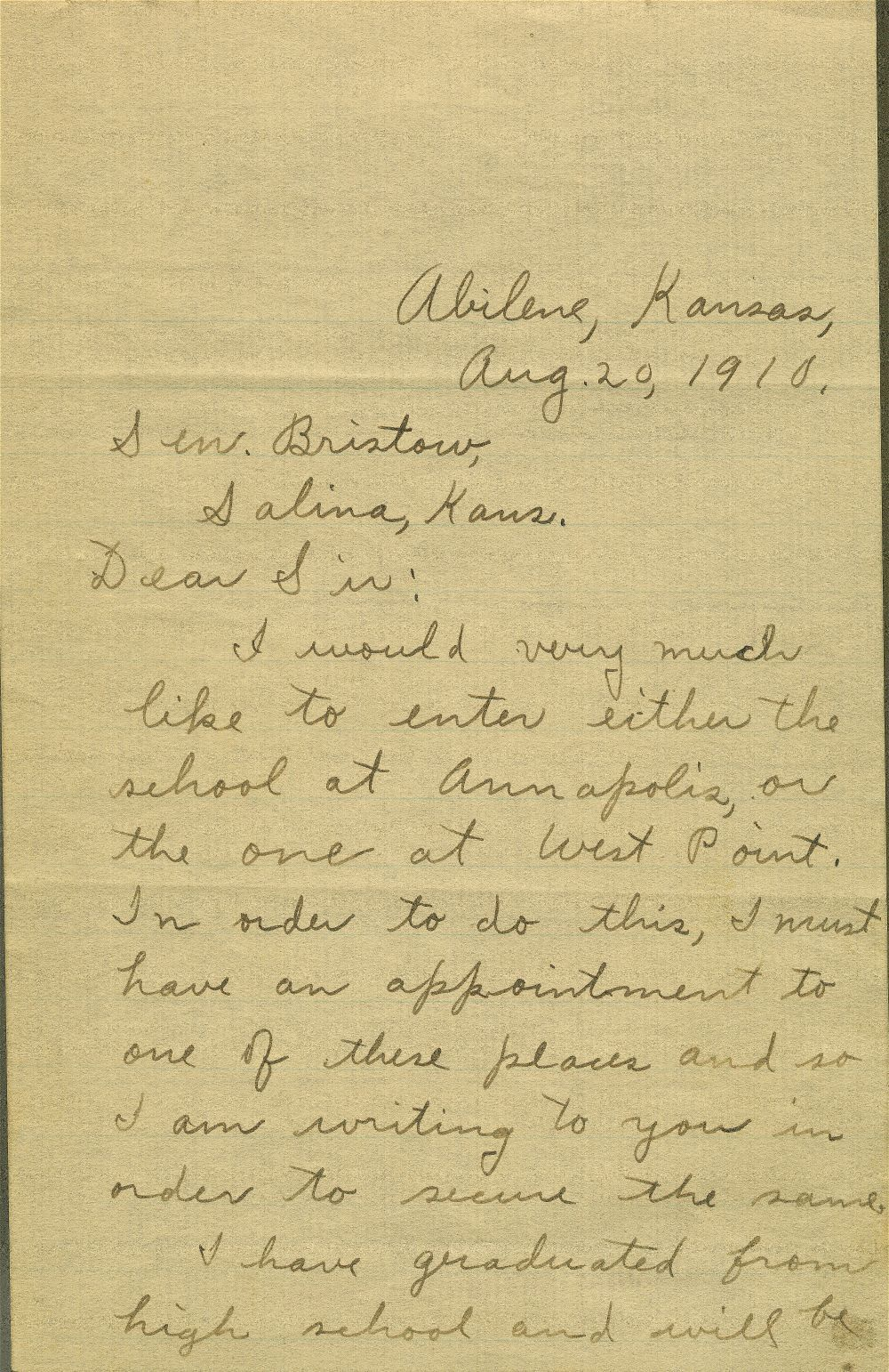 Correspondence between Dwight David Eisenhower and U.S. Senator Joseph L. Bristow concerning Eisenhower's appointment to a military academy - 1