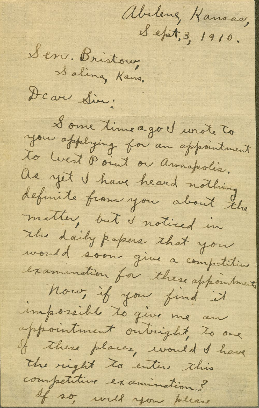 Correspondence between Dwight David Eisenhower and U.S. Senator Joseph L. Bristow concerning Eisenhower's appointment to a military academy - all