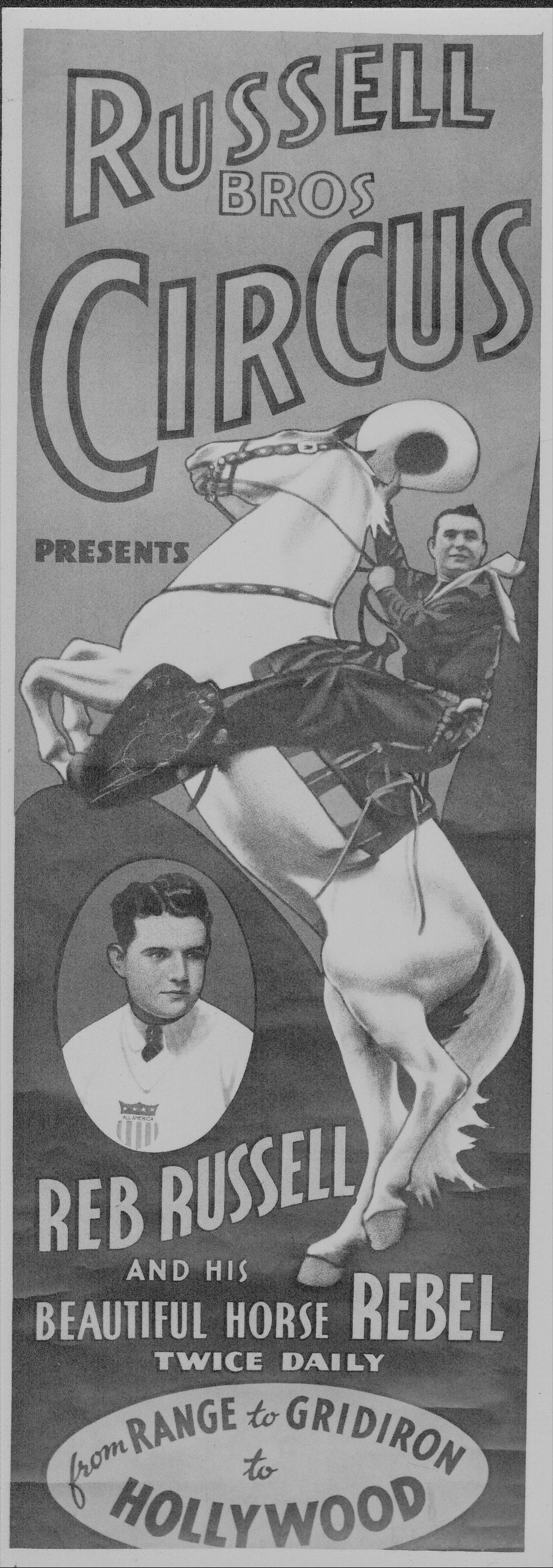 Advertisement for Russell Brothers Circus