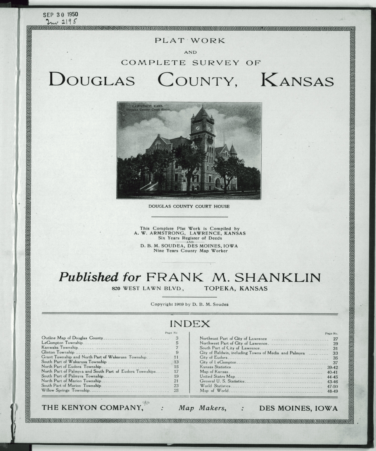 Plat book and complete survey of Douglas County, Kansas - Title Page