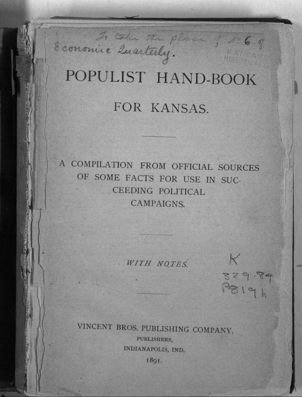 Populist hand-book for Kansas. A compilation from official sources of some facts for use in succeeding political campaigns - Title Page