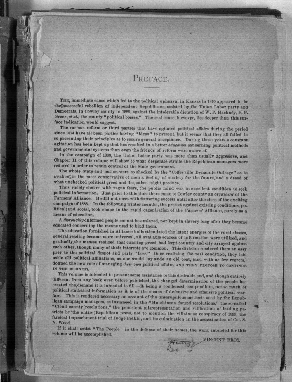 Populist hand-book for Kansas. A compilation from official sources of some facts for use in succeeding political campaigns - Preface
