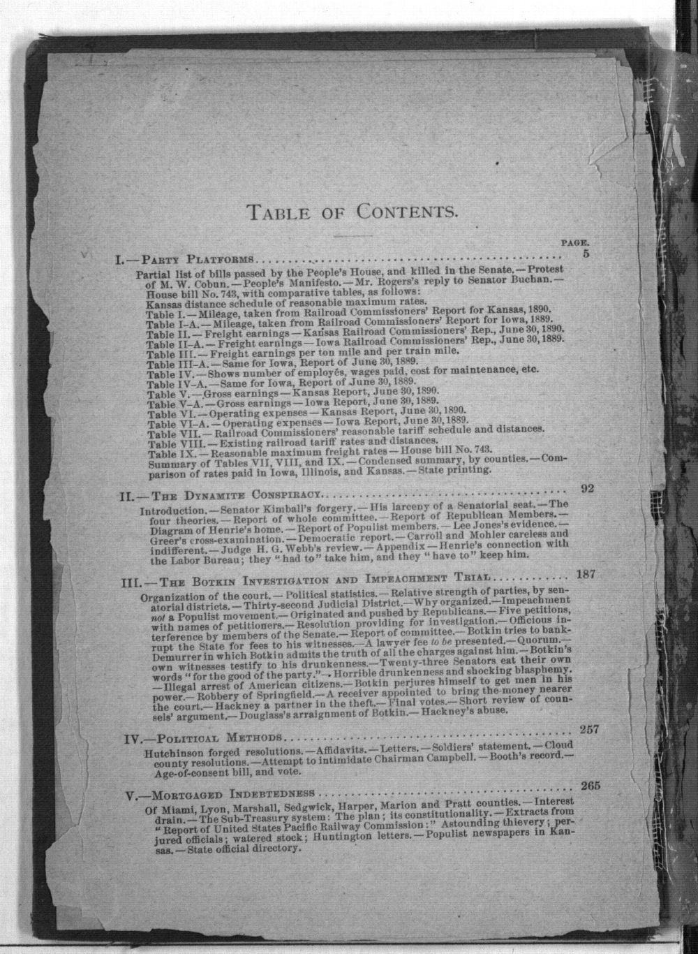 Populist hand-book for Kansas. A compilation from official sources of some facts for use in succeeding political campaigns - Table of Contents