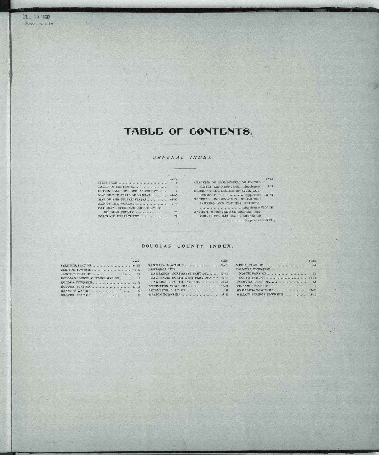 Standard atlas of Douglas County, Kansas - Table of contents