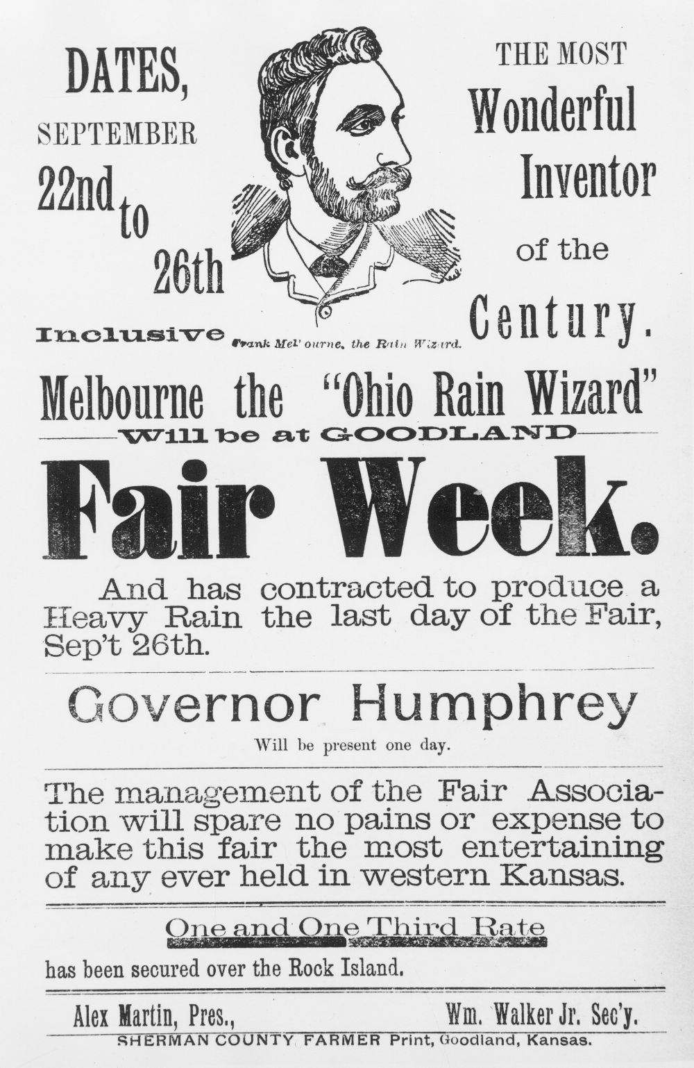 "Melbourne the ""Ohio Rain Wizard"" handbill"