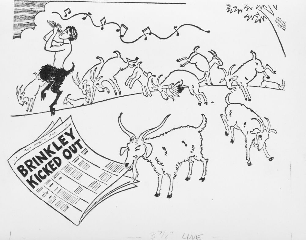 Cartoon showing dancing goats