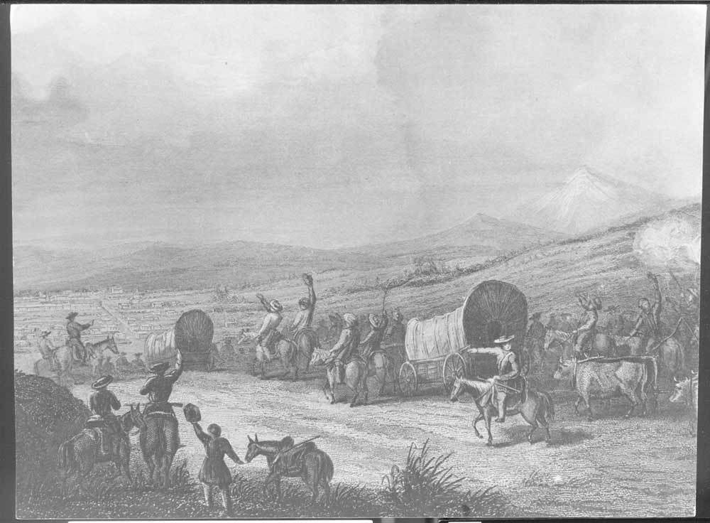 Arrival of wagon caravan at Santa Fe