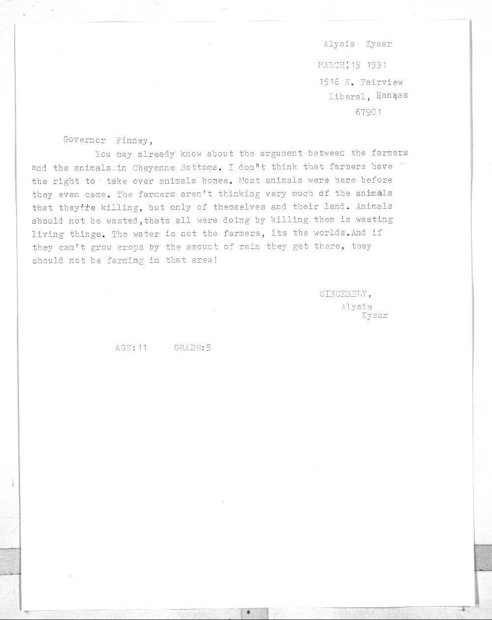 Alysia Kysar to Governor Joan Finney