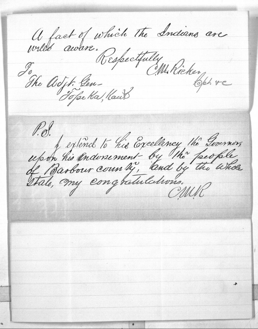 C. M. Ricker to Charles Morris - 2