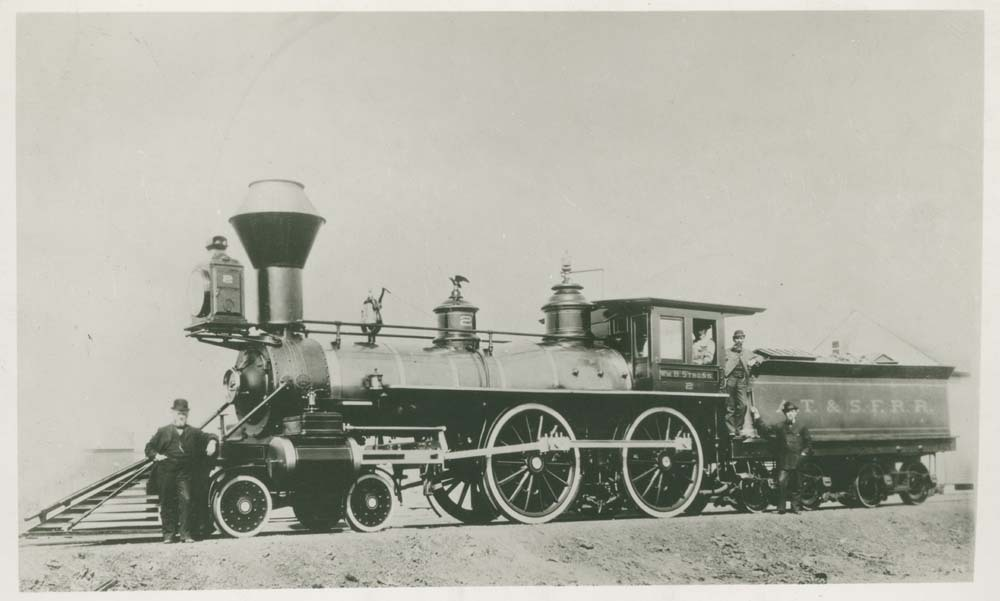 Wm. B. Strong steam engine No. 2 pulling a tender car
