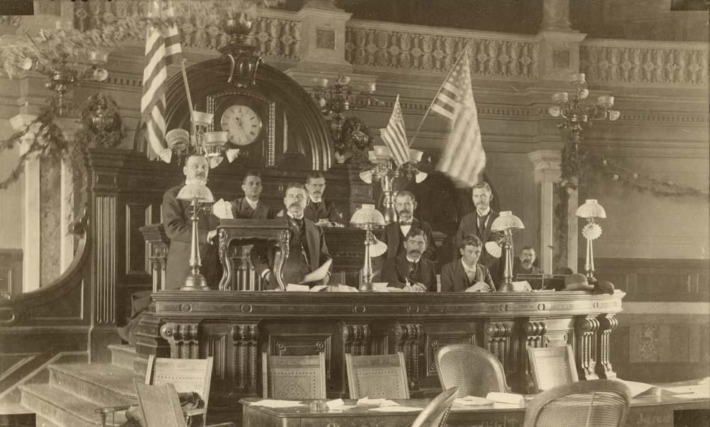 Speaker George L. Douglass in the House of Representatives, Topeka, Kansas