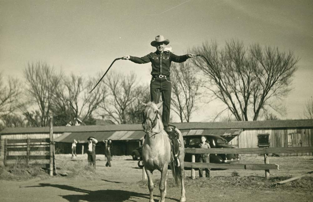 Reb Russell performing his bullwhip act