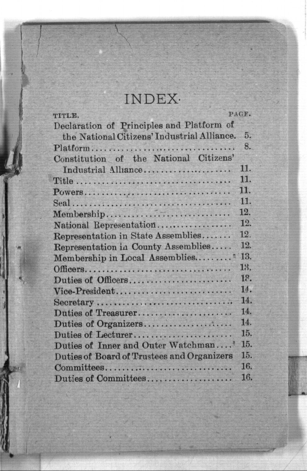 Declaration of principles, platform, constitution and by-laws of the National Citizens' Industrial Alliance and proceeding of the National Assembly held at Topeka, January 13 to 17, 1891 - Index