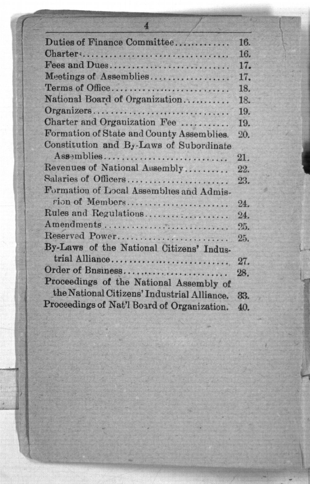Declaration of principles, platform, constitution and by-laws of the National Citizens' Industrial Alliance and proceeding of the National Assembly held at Topeka, January 13 to 17, 1891 - 4