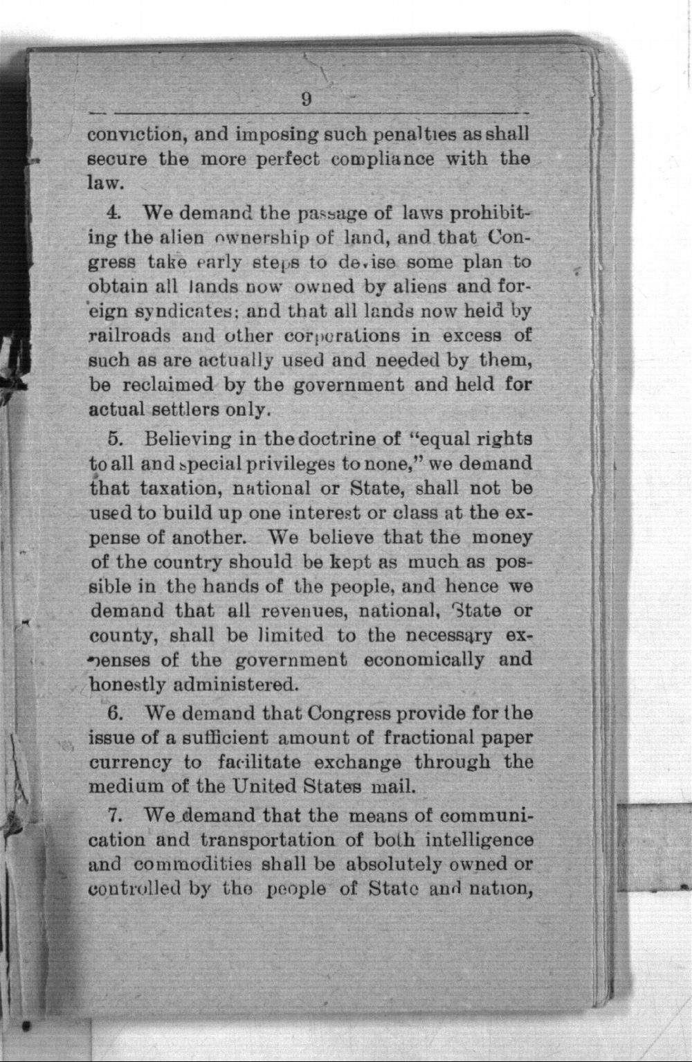 Declaration of principles, platform, constitution and by-laws of the National Citizens' Industrial Alliance and proceeding of the National Assembly held at Topeka, January 13 to 17, 1891 - 9