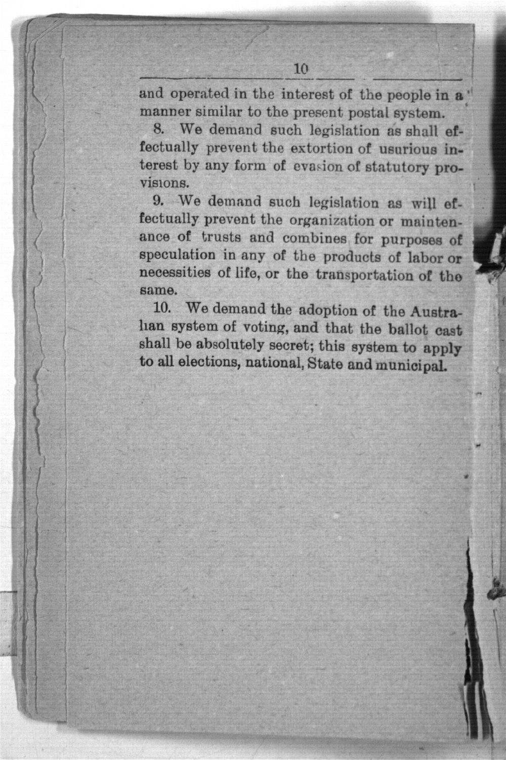 Declaration of principles, platform, constitution and by-laws of the National Citizens' Industrial Alliance and proceeding of the National Assembly held at Topeka, January 13 to 17, 1891 - 10