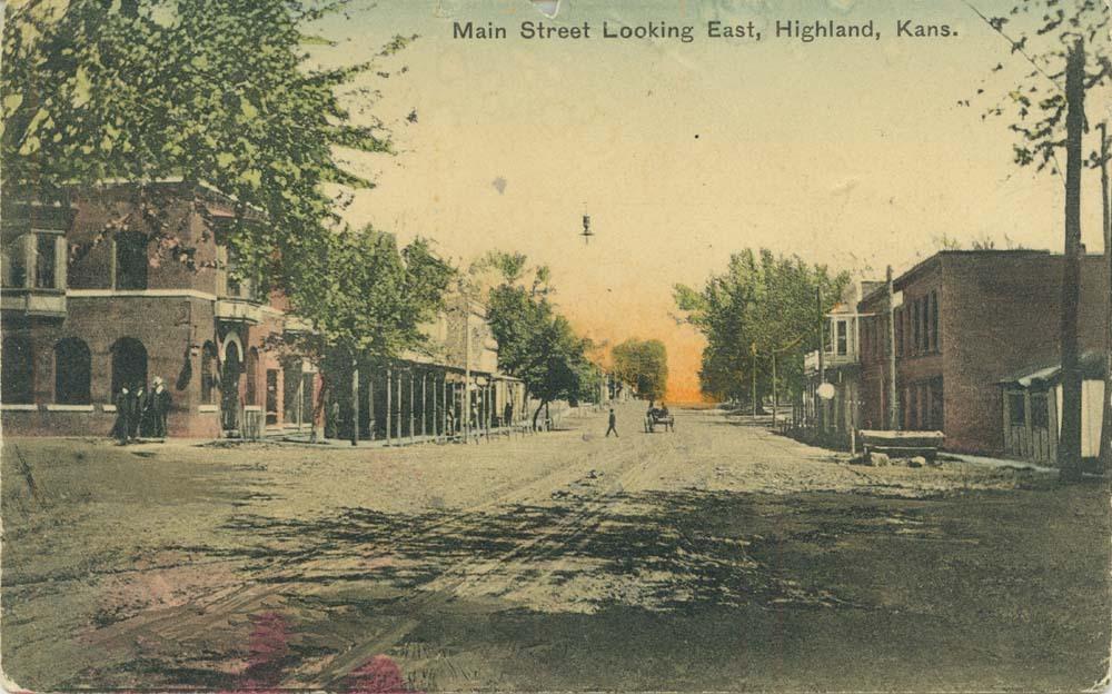 Main street looking east, Highland, Kansas