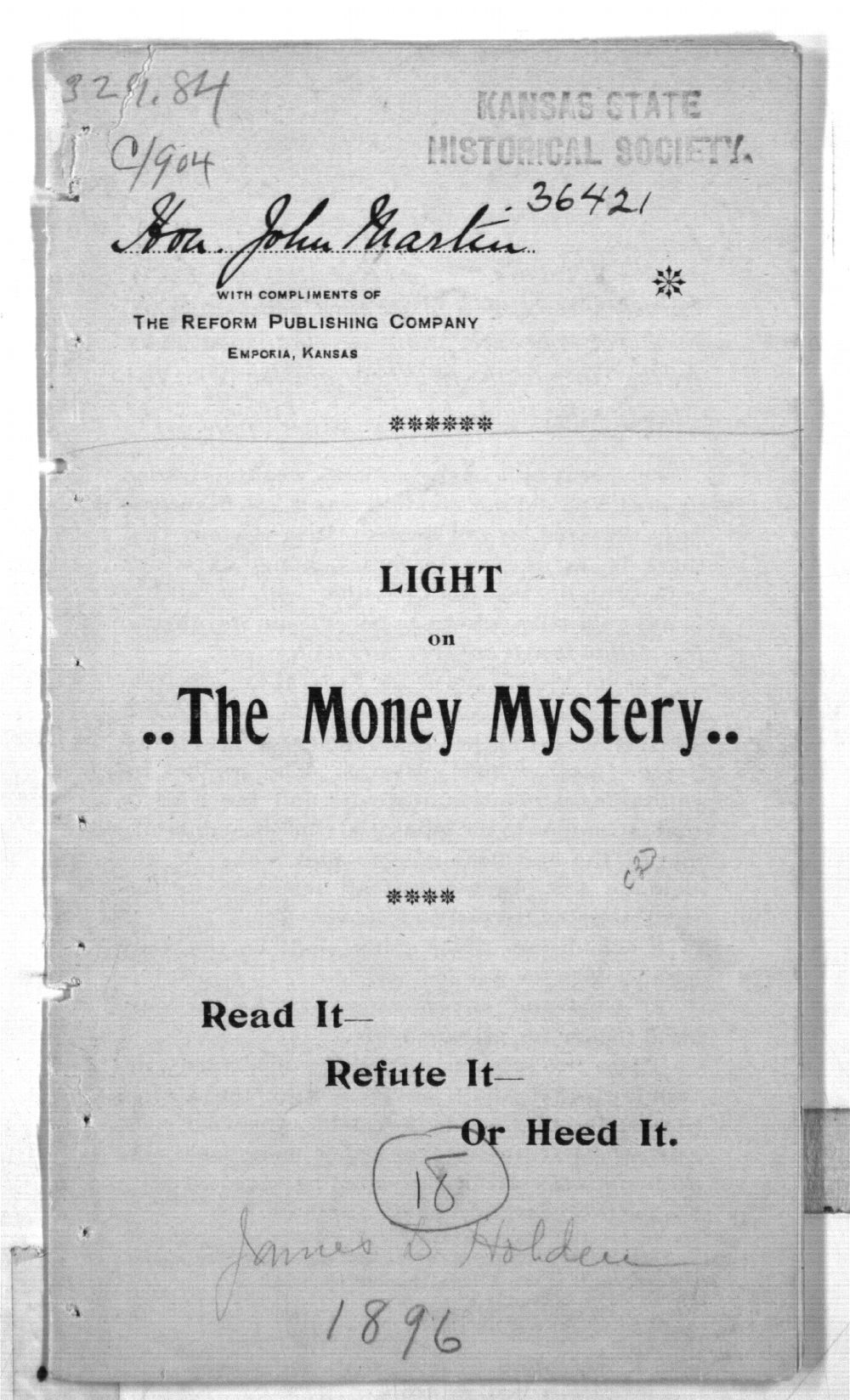 Light on the money mystery - Front Cover