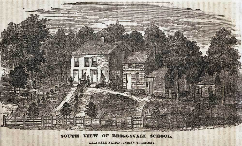 South view of Briggsvale School on the Delaware Baptist Mission, Wyandotte County