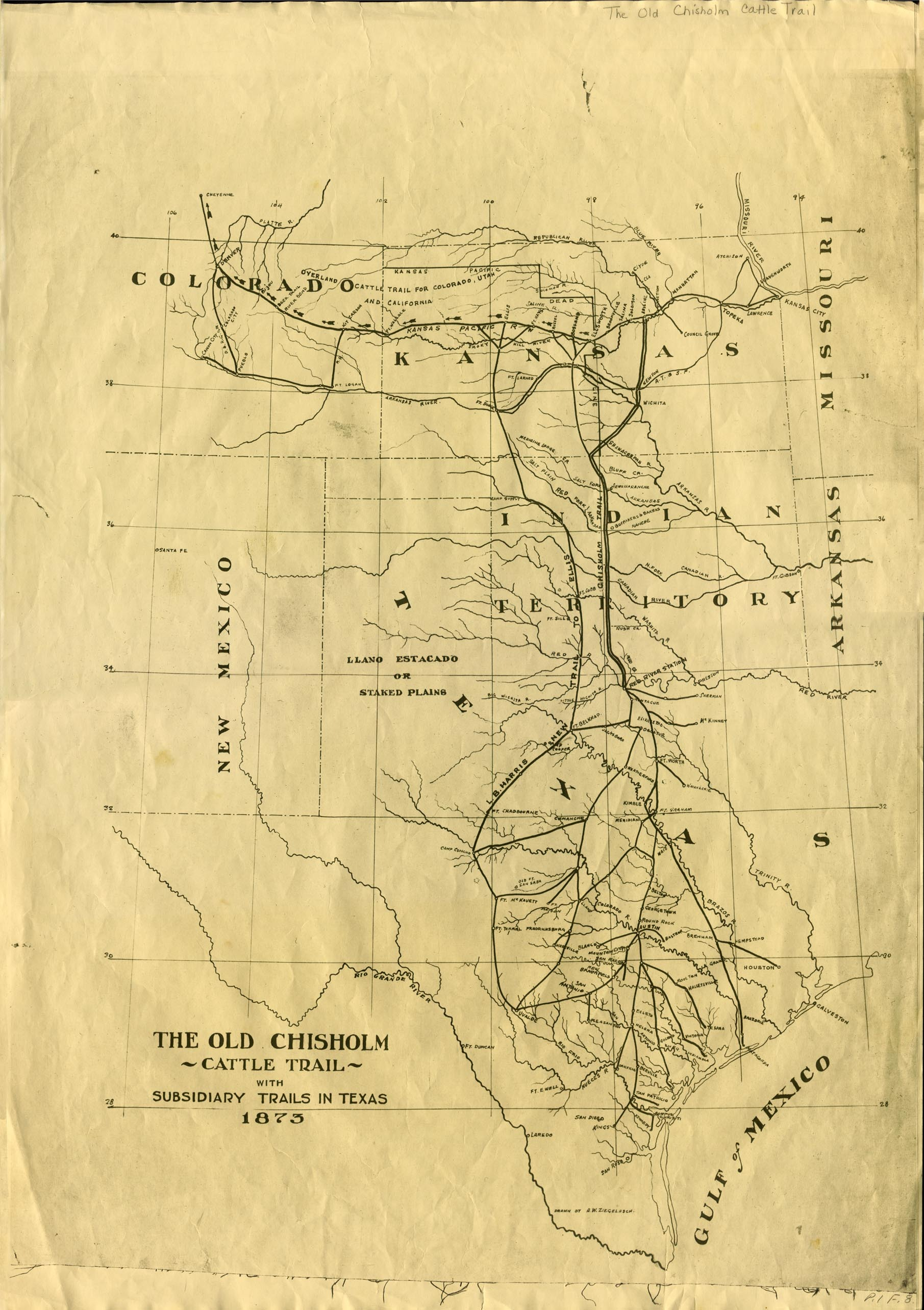 The old Chisholm cattle trail with subsidiary trails in Texas, 1873 / drawn by A. W. Ziegelasch.